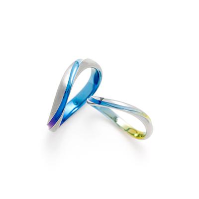 RAY  結婚指輪 個性派 S字(ウェーブ) ジルコニウム