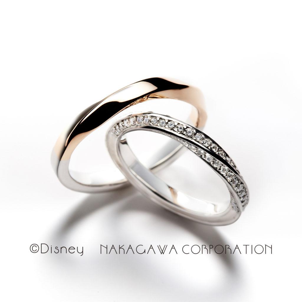 bell of 12:00 結婚指輪 エレガント 個性派 S字(ウェーブ) プラチナ ピンクゴールド コンビ