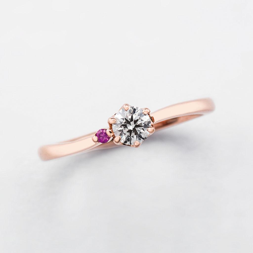 bisou 婚約指輪 キュート S字(ウェーブ) ピンクゴールド