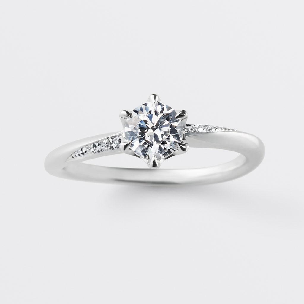 bonheur 婚約指輪 シンプル エレガント S字(ウェーブ) プラチナ