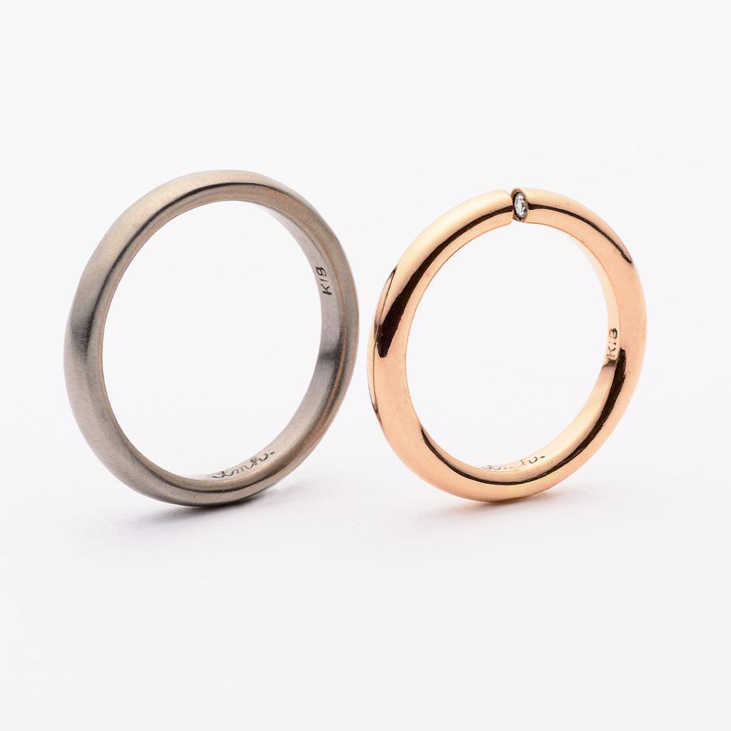 tmh. ティーエムエイチ.  結婚指輪 シンプル アンティーク 個性派 ストレート イエローゴールド