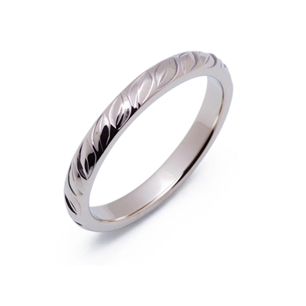 キワラオ 結婚指輪 シンプル アンティーク 個性派 ストレート ホワイトゴールド