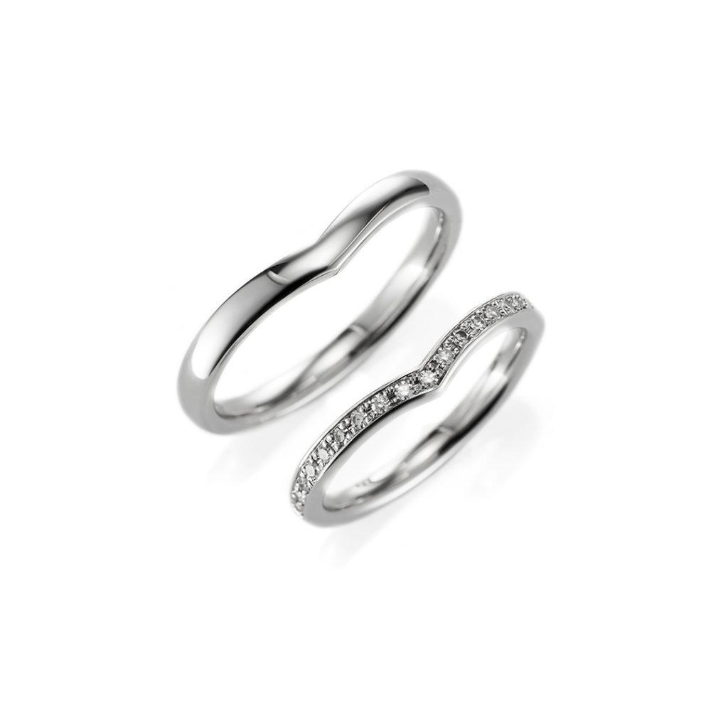 With 結婚指輪 エレガント V字(ウェーブ) エタニティ プラチナ
