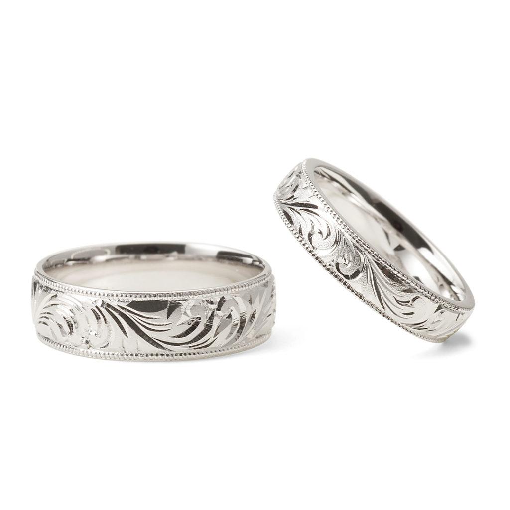 永遠 - Towa - 和唐草 Wakarakusa 結婚指輪 エレガント ストレート プラチナ