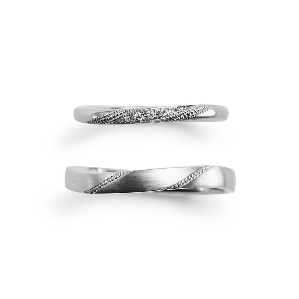 Clapotis 結婚指輪 エレガント アンティーク S字(ウェーブ) プラチナ