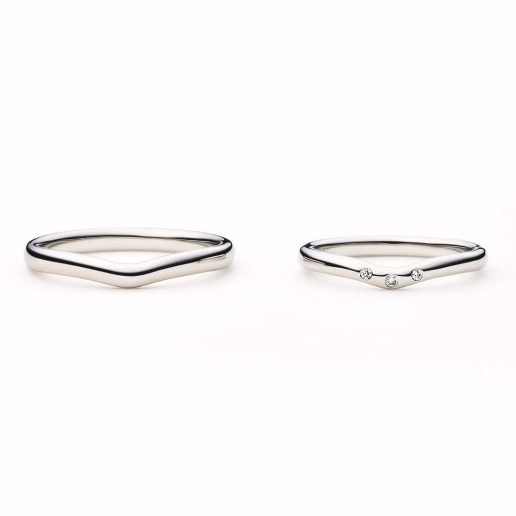crépe 結婚指輪 シンプル エレガント V字(ウェーブ) プラチナ