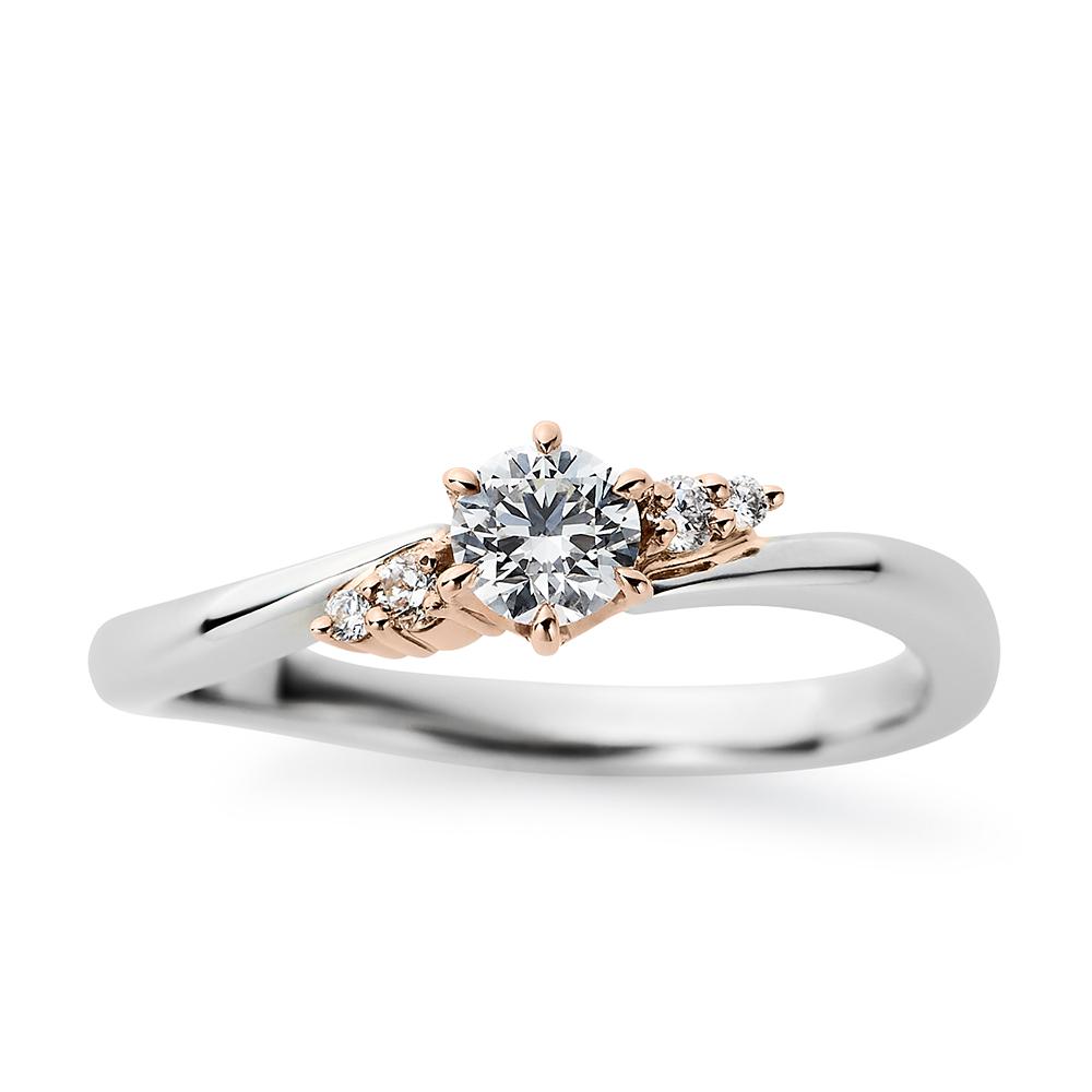 Serenity 婚約指輪 キュート S字(ウェーブ) プラチナ ピンクゴールド
