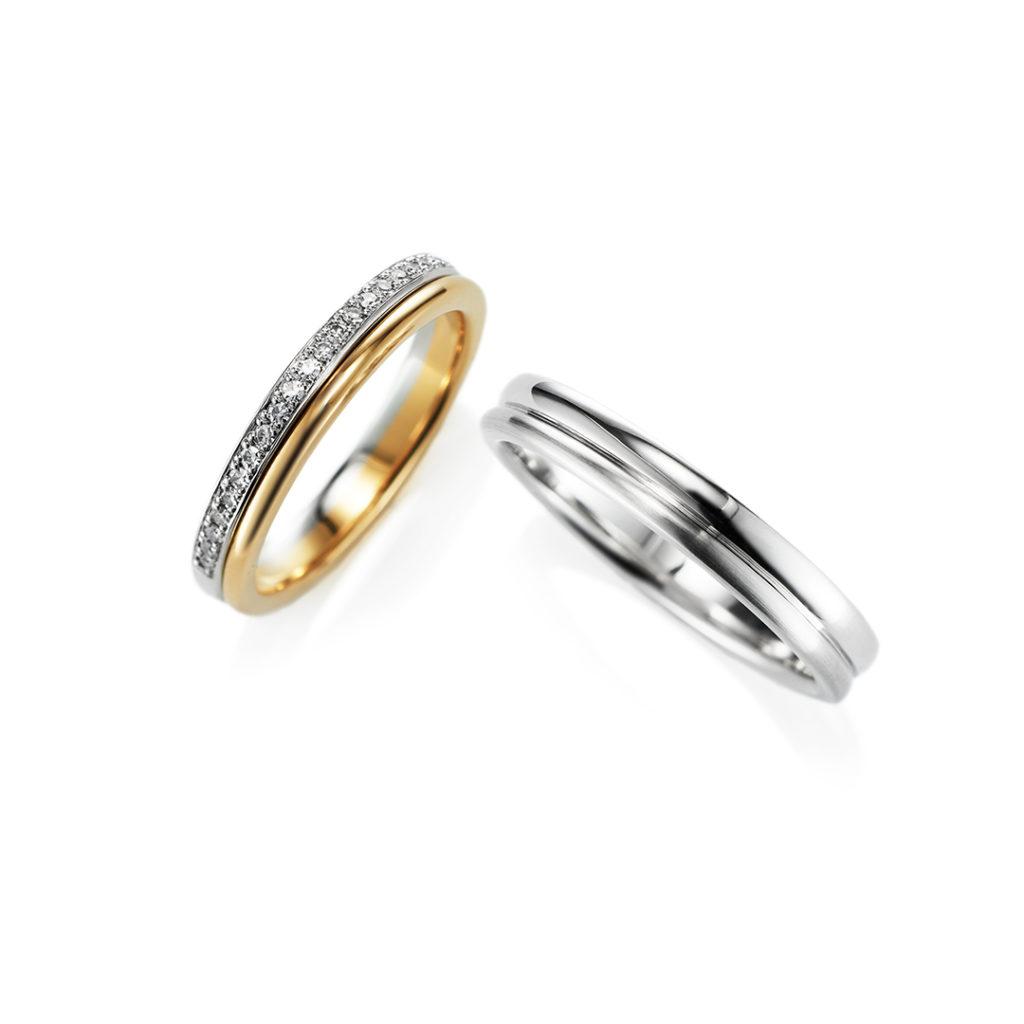 Share 結婚指輪 エレガント ストレート エタニティ プラチナ イエローゴールド