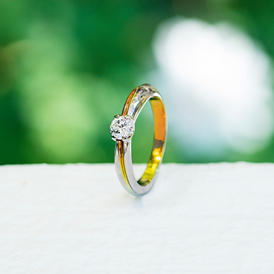 EFILANTE 婚約指輪 シンプル エレガント 個性派 ストレート 幅広 ジルコニウム