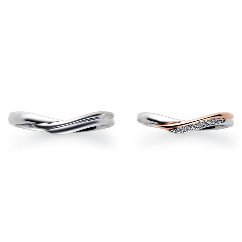 Espoir 結婚指輪 シンプル キュート V字(ウェーブ) プラチナ ピンクゴールド コンビ