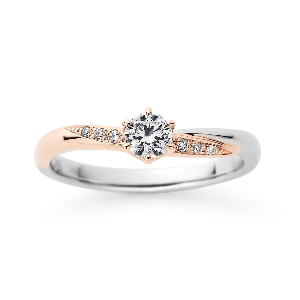 Bloom 婚約指輪 シンプル S字(ウェーブ) プラチナ ピンクゴールド コンビ