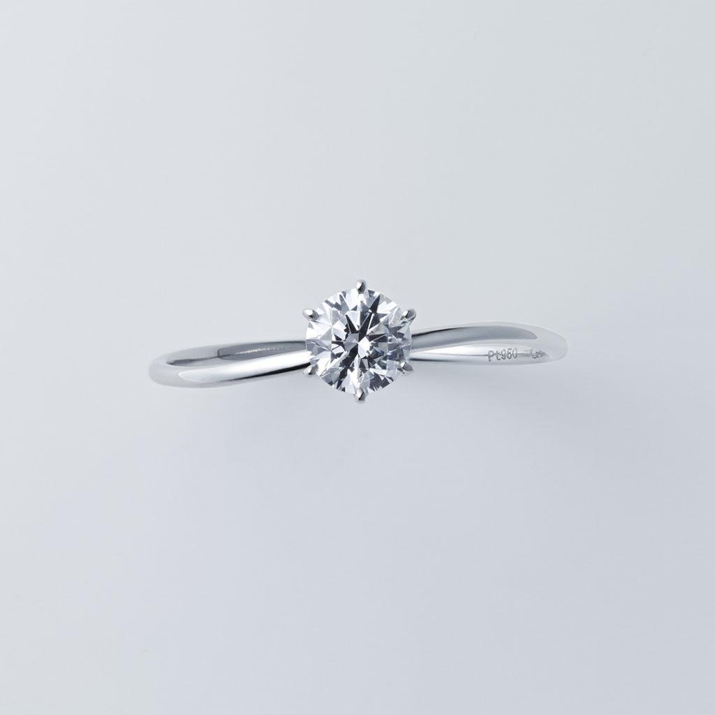 S字ライン×ラウンドカット 婚約指輪 シンプル S字(ウェーブ) プラチナ