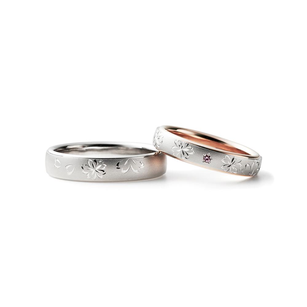 SAKURAEMAKI 結婚指輪 キュート 個性派 ストレート 幅広 プラチナ コンビ