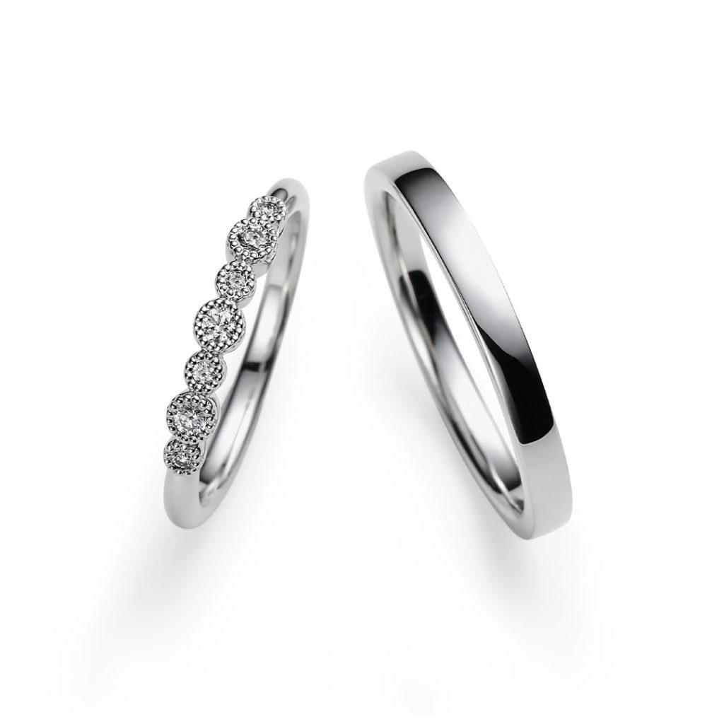 Flocon 結婚指輪 エレガント アンティーク ストレート プラチナ