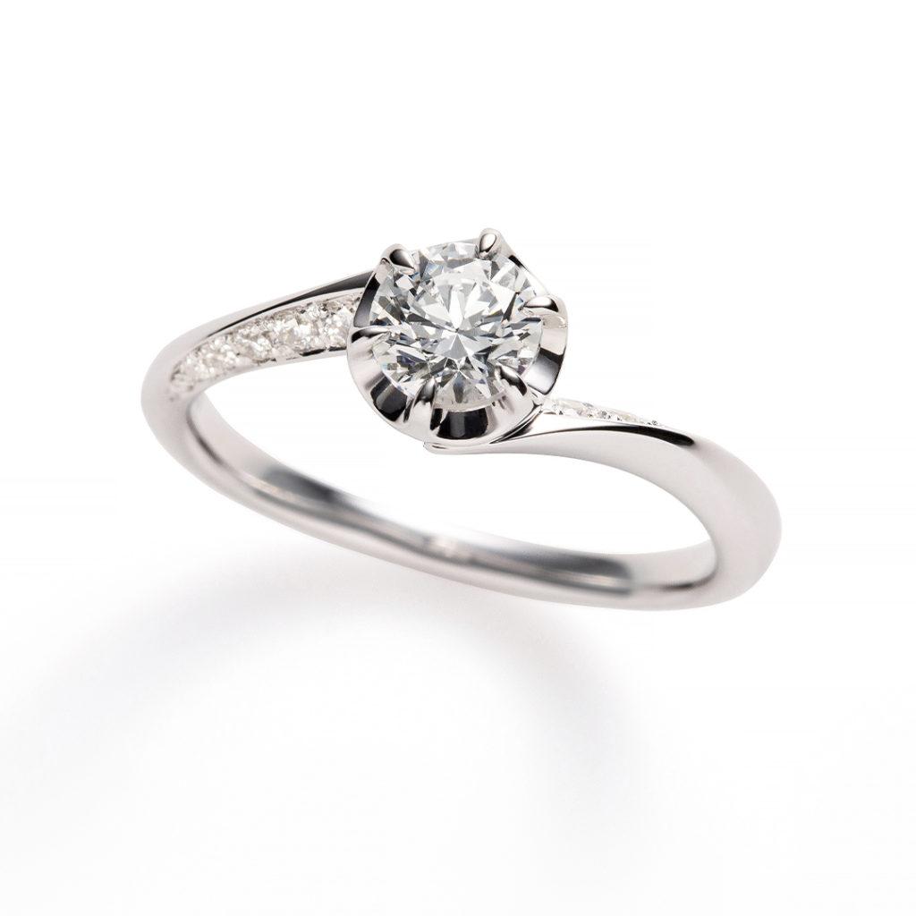 flow 婚約指輪 エレガント 個性派 S字(ウェーブ) プラチナ