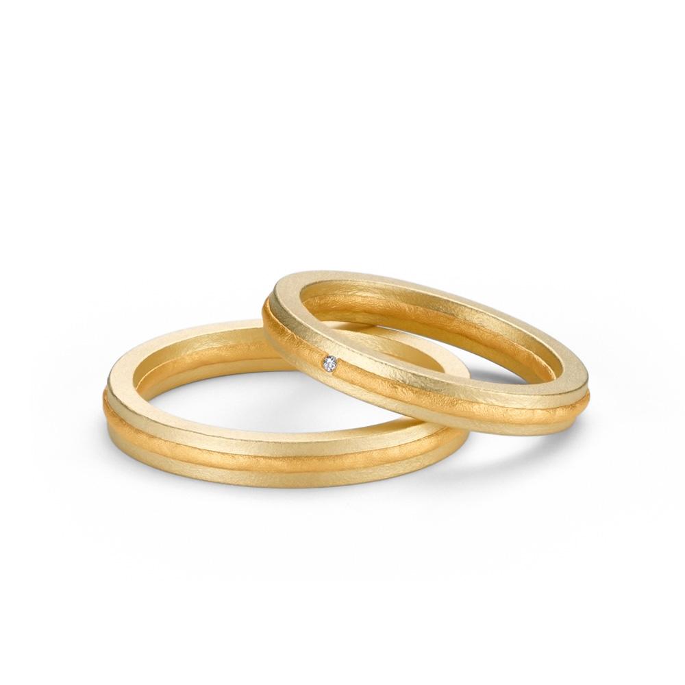 NIESSING FUSION 結婚指輪 シンプル 個性派 ストレート イエローゴールド