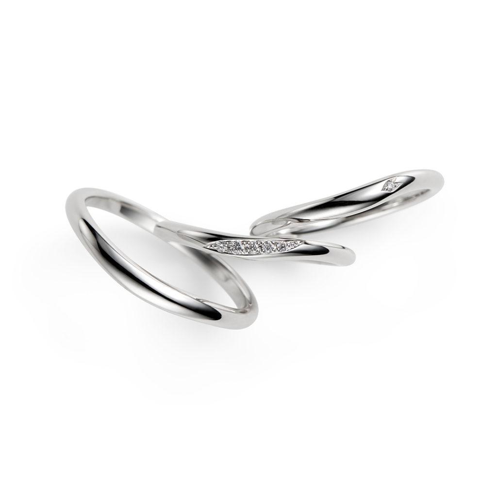 花桜 結婚指輪 シンプル キュート S字(ウェーブ) プラチナ