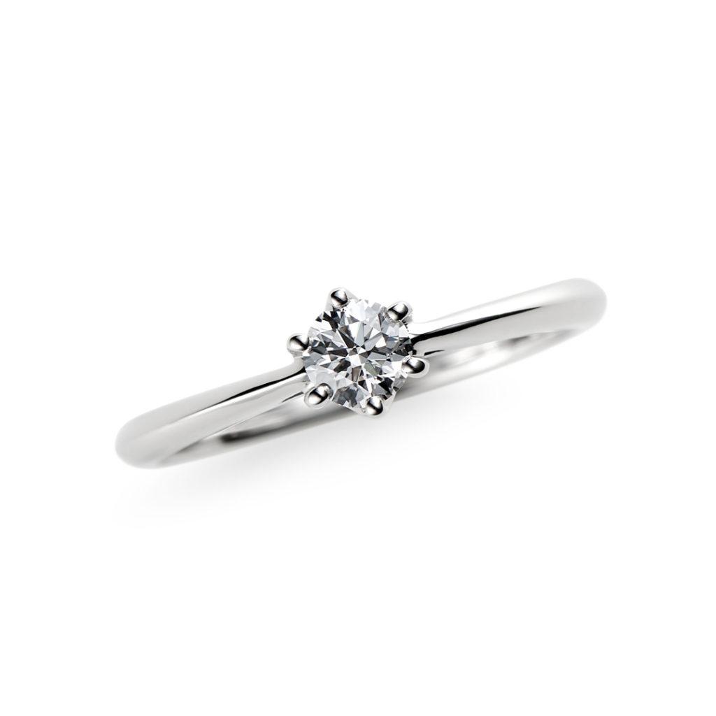 春の心 婚約指輪 シンプル ストレート プラチナ