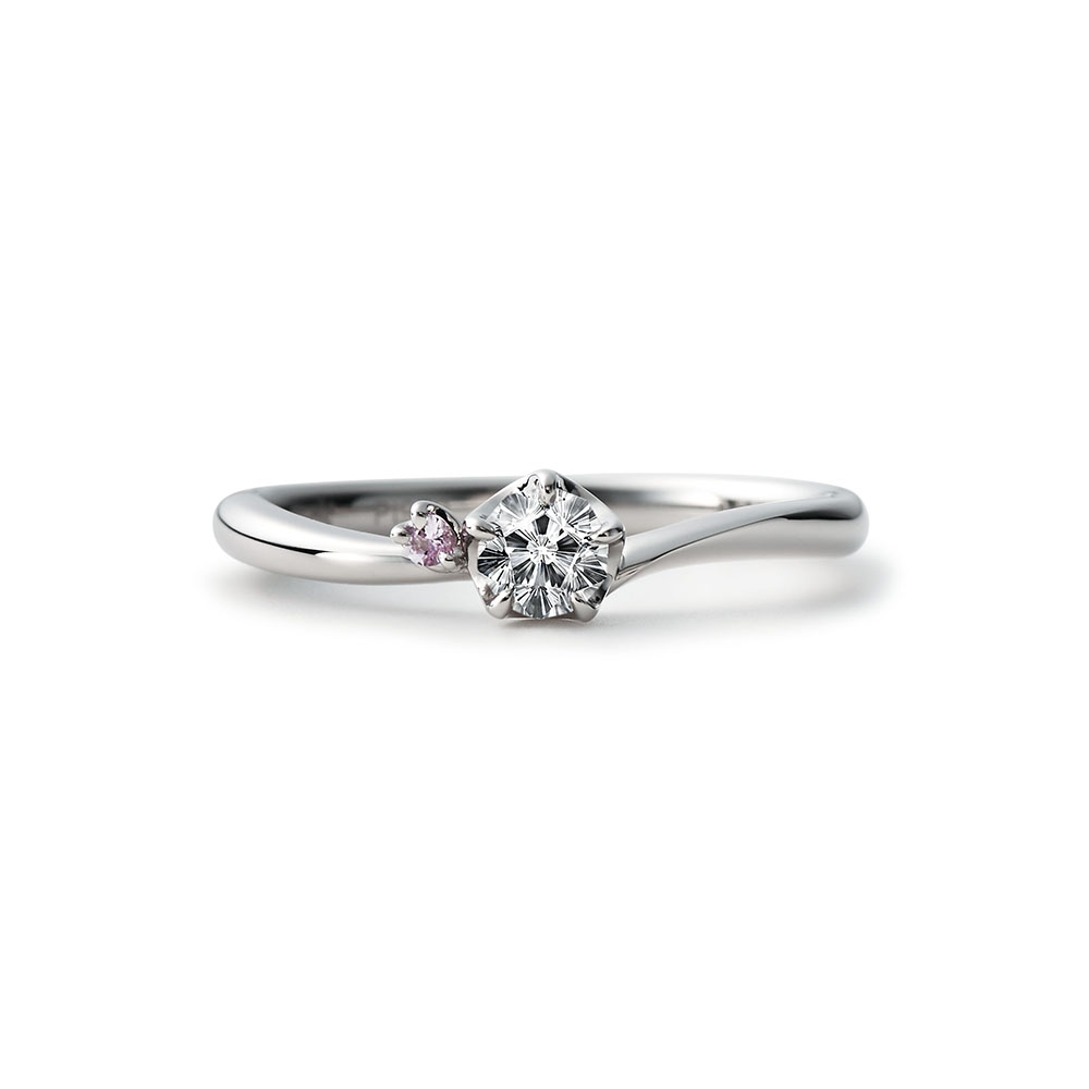HIMEZAKURA 婚約指輪 キュート 個性派 S字(ウェーブ) プラチナ