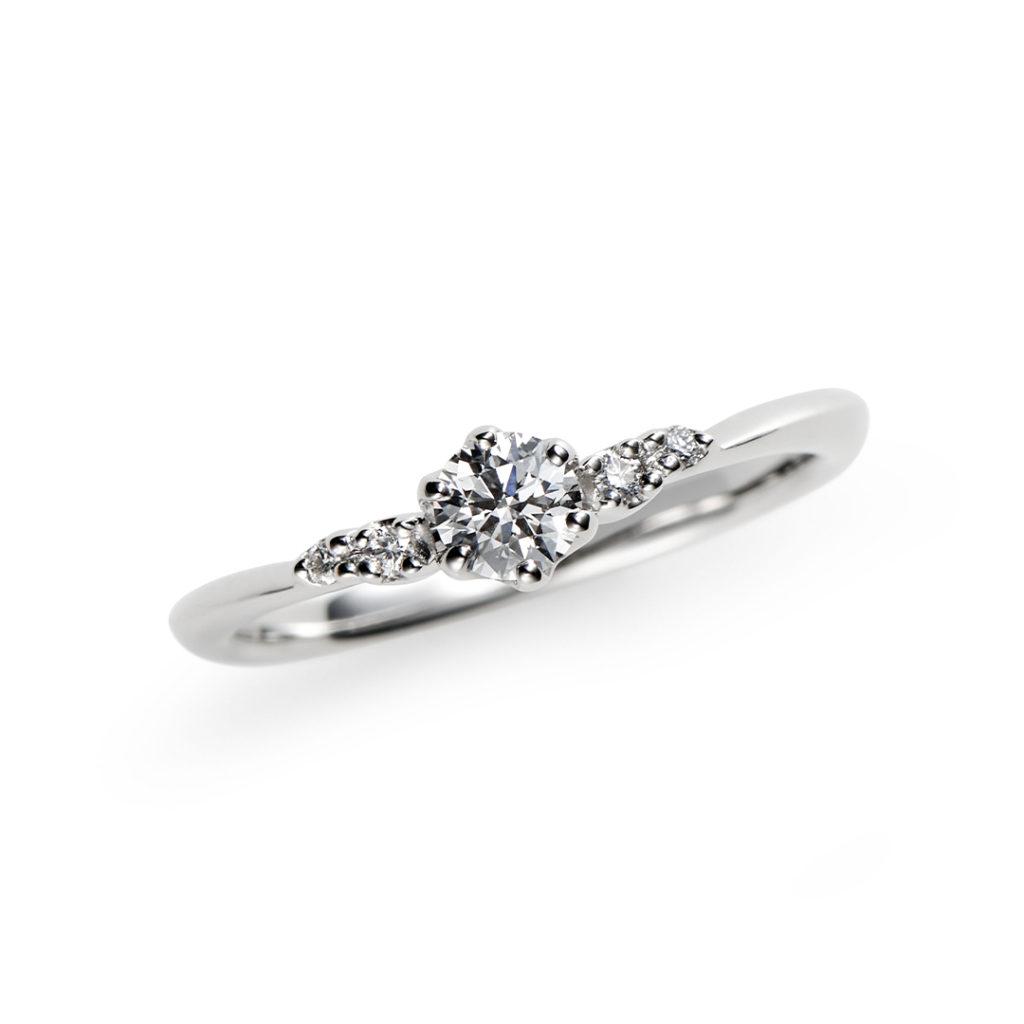 日向 婚約指輪 シンプル キュート V字(ウェーブ) プラチナ