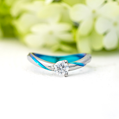 HOKU 婚約指輪 シンプル エレガント 個性派 S字(ウェーブ) 幅広 ジルコニウム