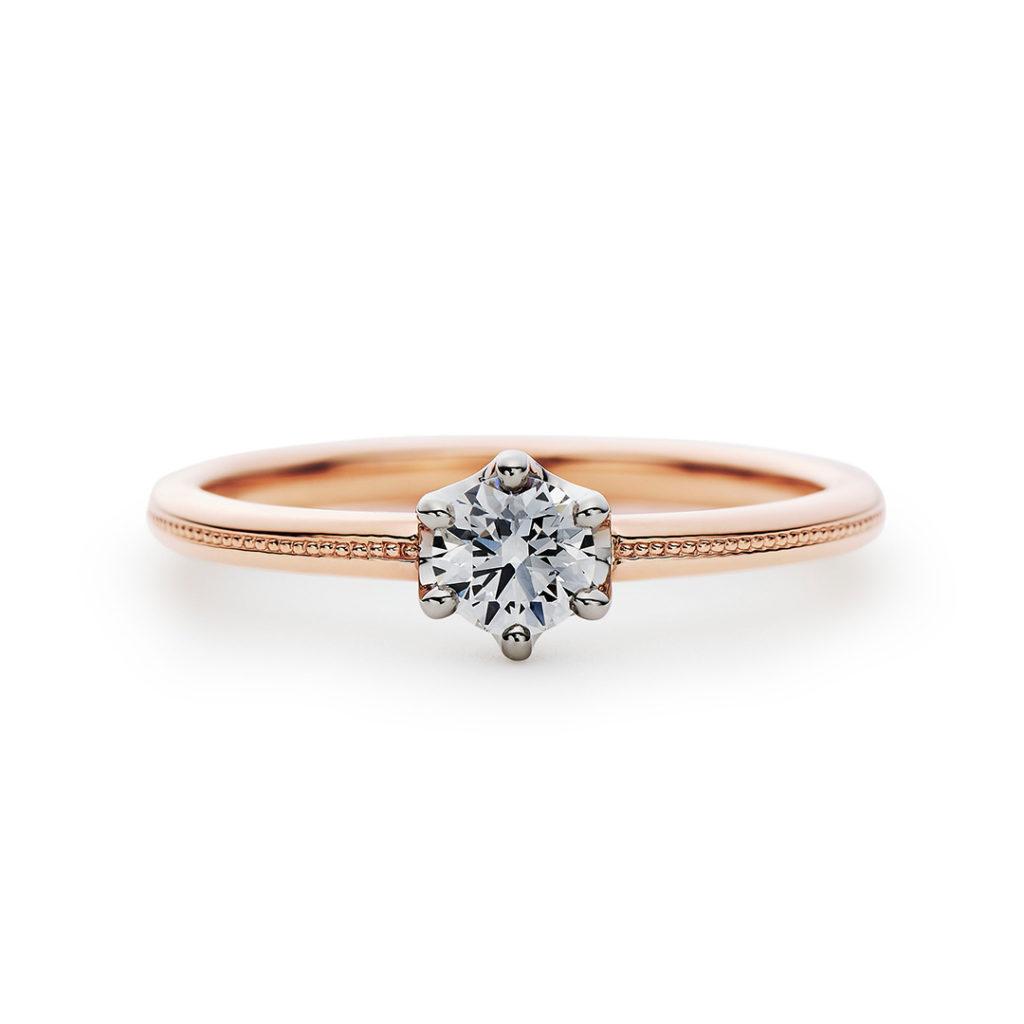 Joyeux 婚約指輪 アンティーク キュート ストレート ピンクゴールド コンビ