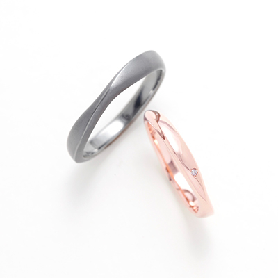 COTEAU 結婚指輪 シンプル 個性派 ストレート S字(ウェーブ) ピンクゴールド タンタル