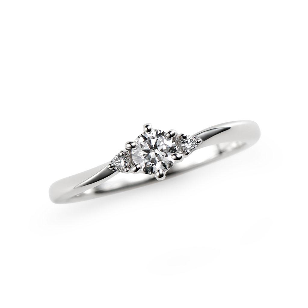 光輝 婚約指輪 シンプル ストレート S字(ウェーブ) プラチナ