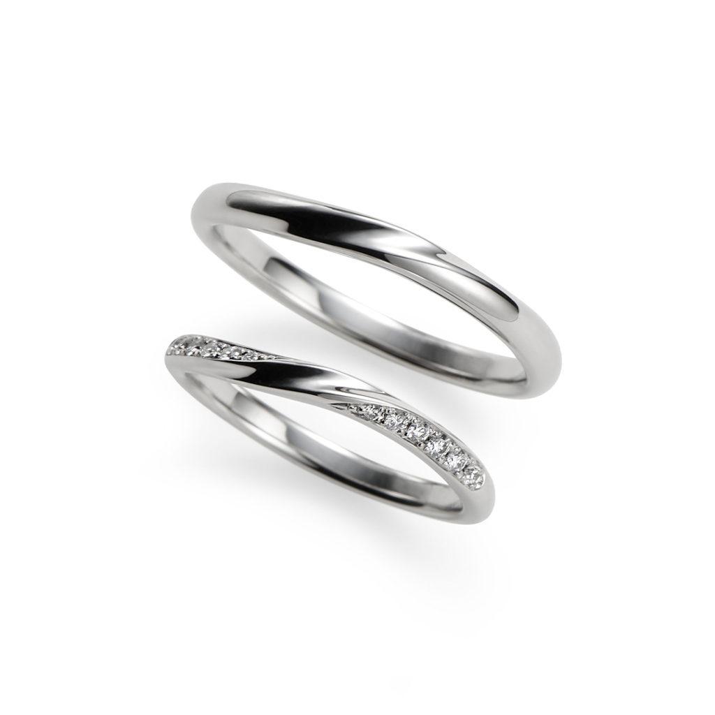 光輝 結婚指輪 シンプル エレガント S字(ウェーブ) プラチナ
