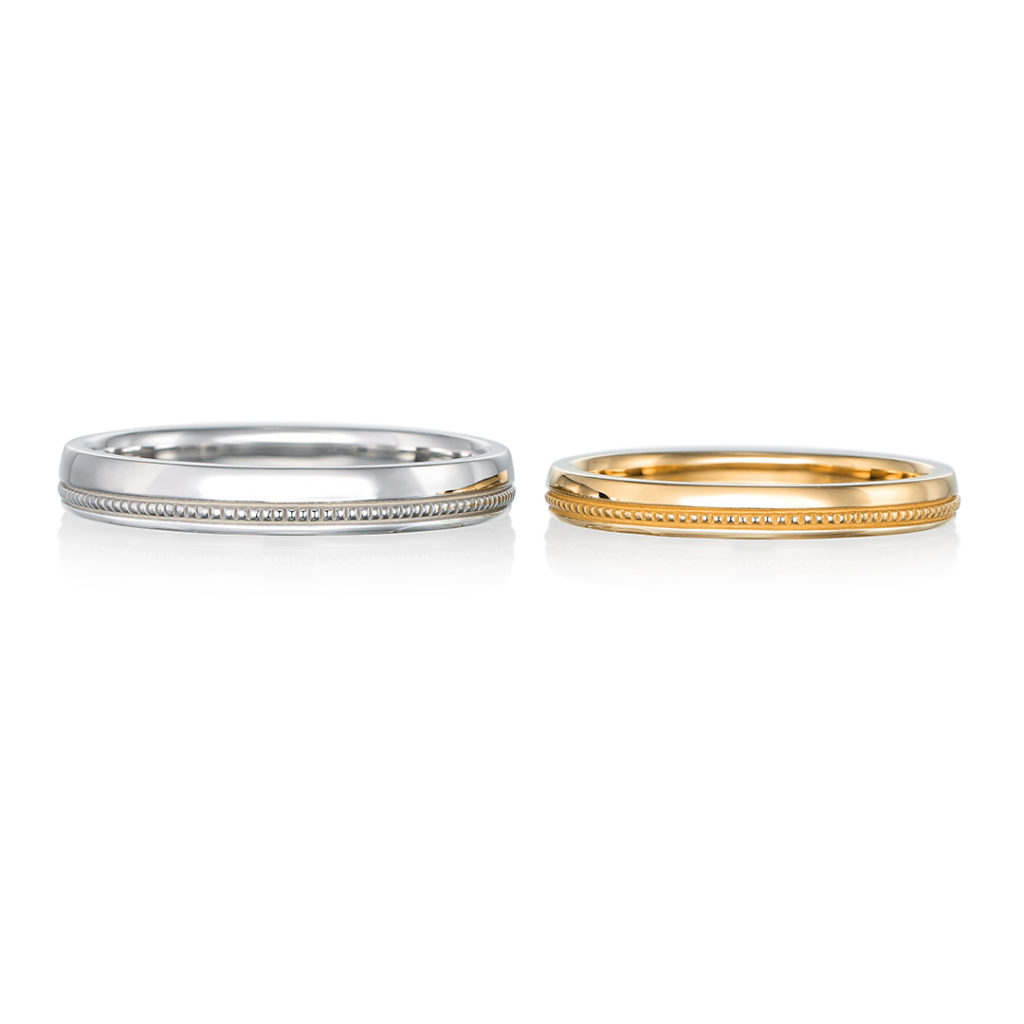 lien 結婚指輪 アンティーク ストレート イエローゴールド ホワイトゴールド