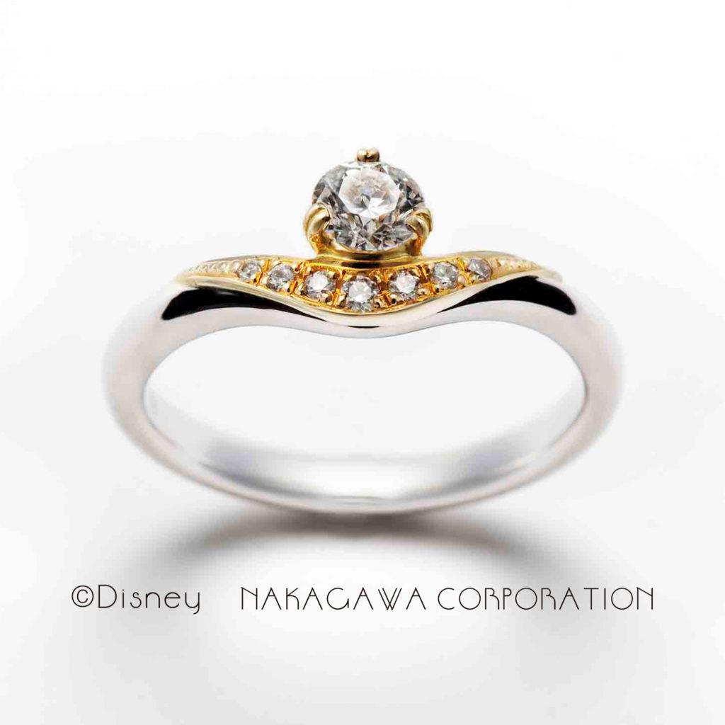 magic lamp 婚約指輪 エレガント 個性派 V字(ウェーブ) プラチナ イエローゴールド コンビ