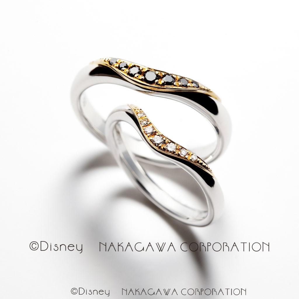 magic lamp 結婚指輪 エレガント 個性派 V字(ウェーブ) プラチナ イエローゴールド コンビ