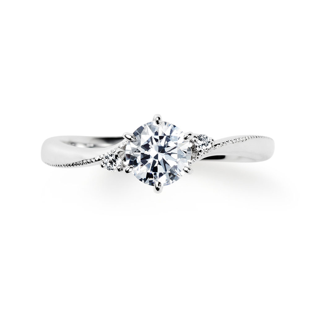 meteore 婚約指輪 シンプル エレガント S字(ウェーブ) プラチナ