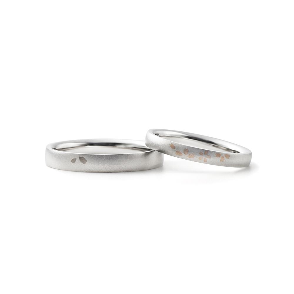 OUKA 結婚指輪 シンプル 個性派 ストレート プラチナ コンビ