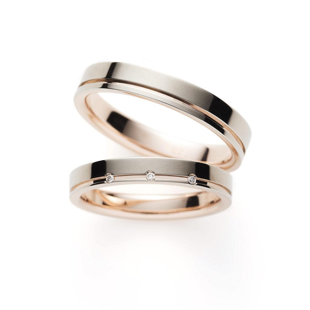 Pink Lady 結婚指輪 シンプル 個性派 ストレート 幅広 プラチナ ピンクゴールド コンビ
