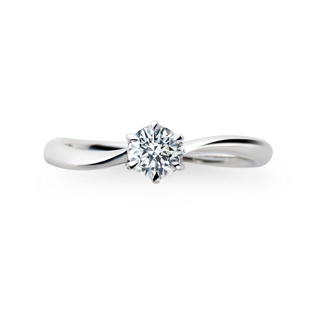 Plume 婚約指輪 シンプル S字(ウェーブ) プラチナ