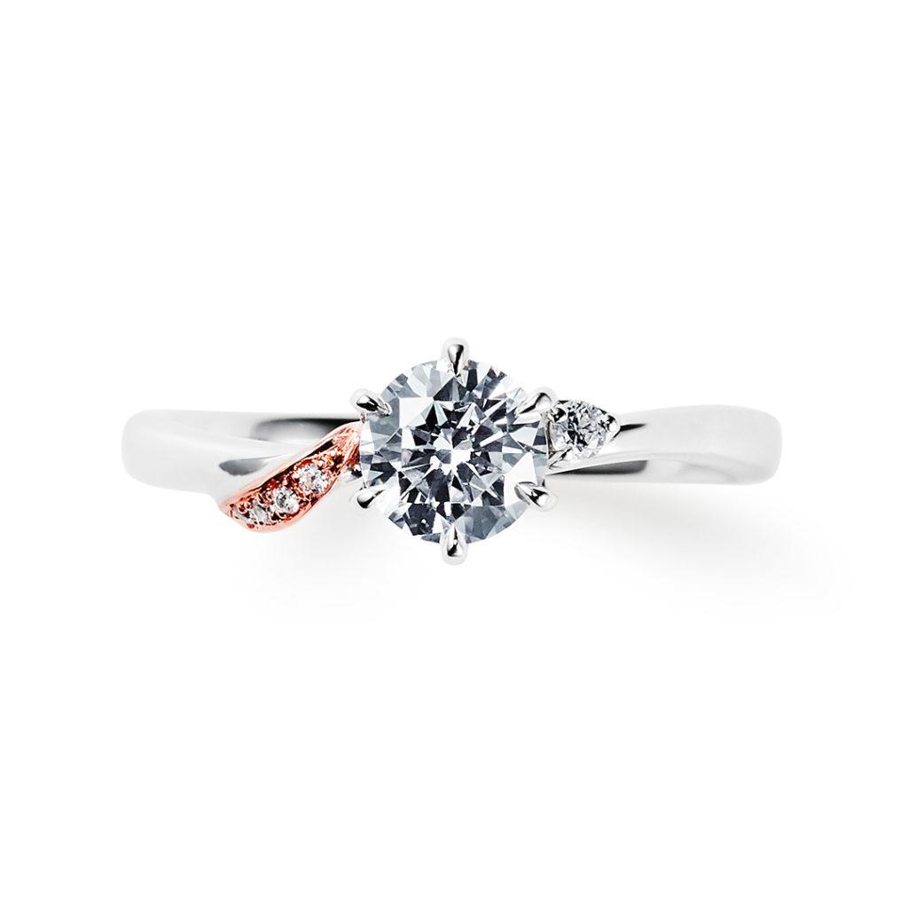 plume 婚約指輪 エレガント S字(ウェーブ) プラチナ ピンクゴールド コンビ