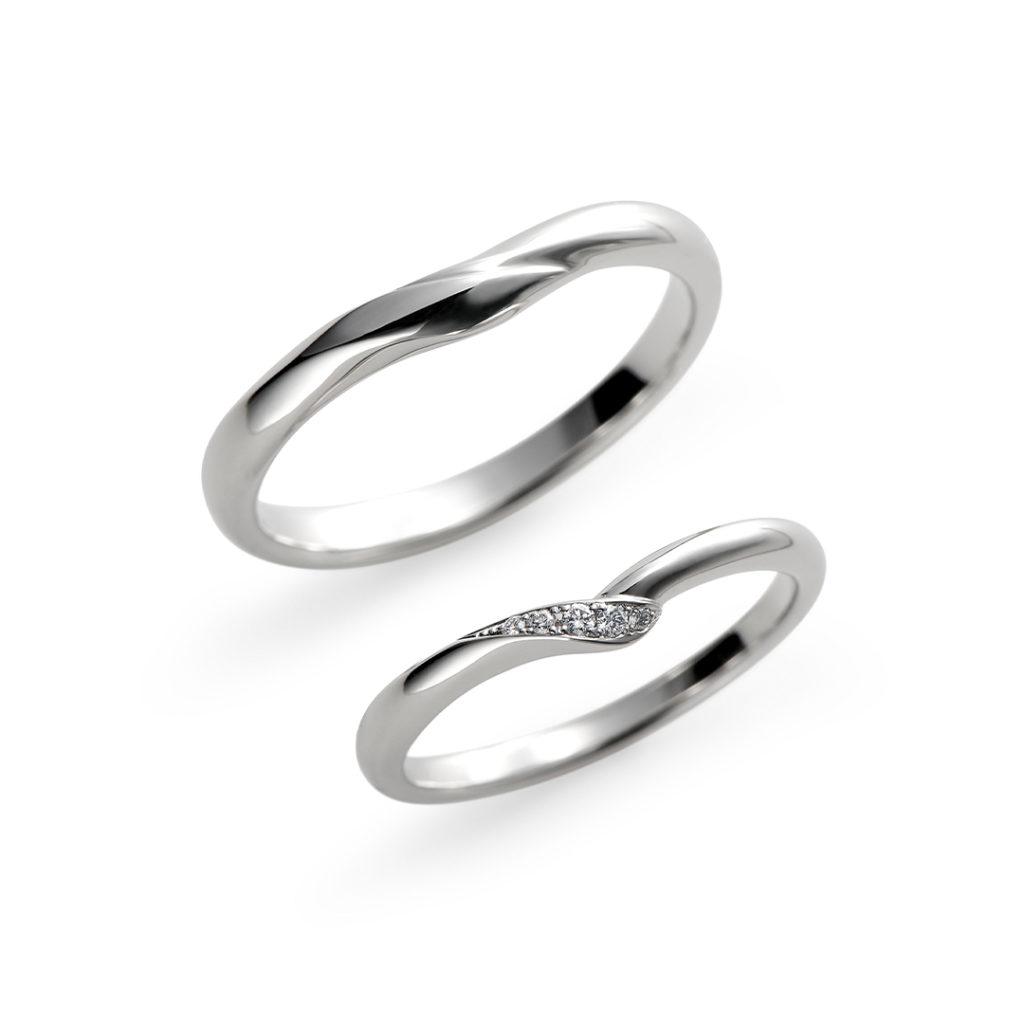 爛漫 結婚指輪 シンプル キュート V字(ウェーブ) プラチナ