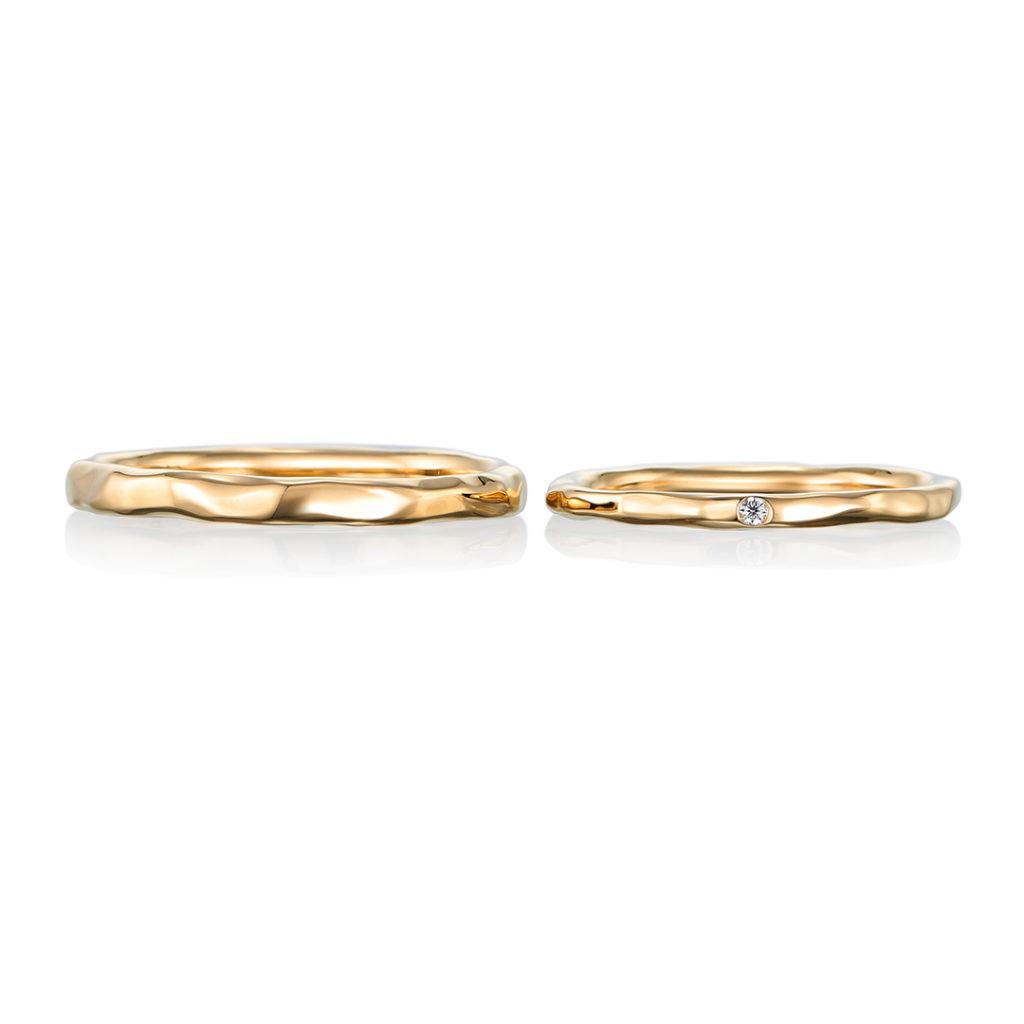 reve  結婚指輪 アンティーク 個性派 ストレート 幅広 イエローゴールド