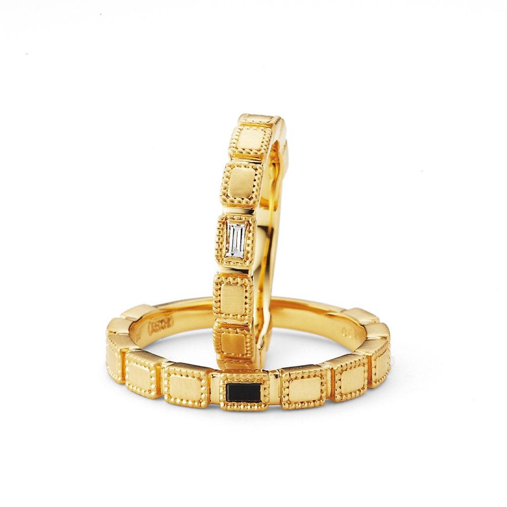 safari 結婚指輪 エレガント アンティーク 個性派 ストレート イエローゴールド