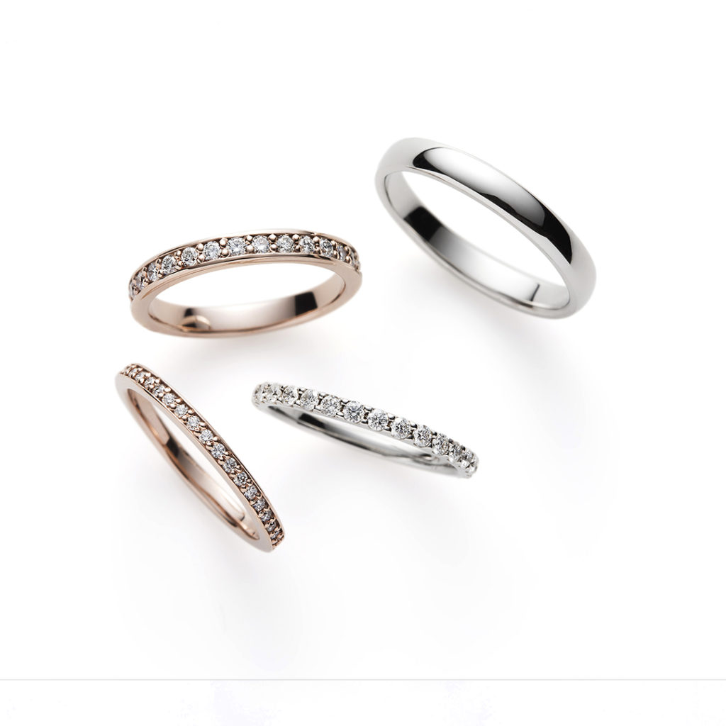 Salty Dog 結婚指輪 シンプル エレガント ストレート エタニティ プラチナ ピンクゴールド