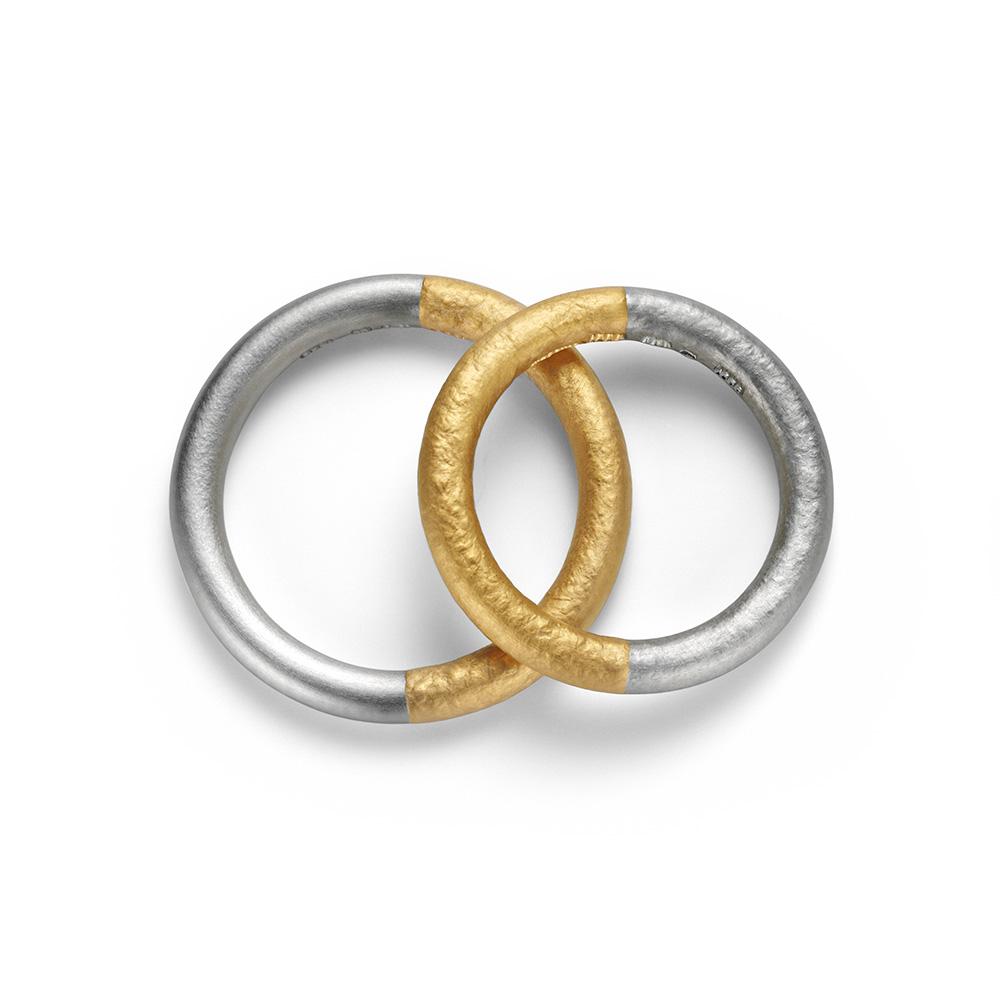 NIESSING SYMBOLON 結婚指輪 シンプル 個性派 ストレート プラチナ イエローゴールド