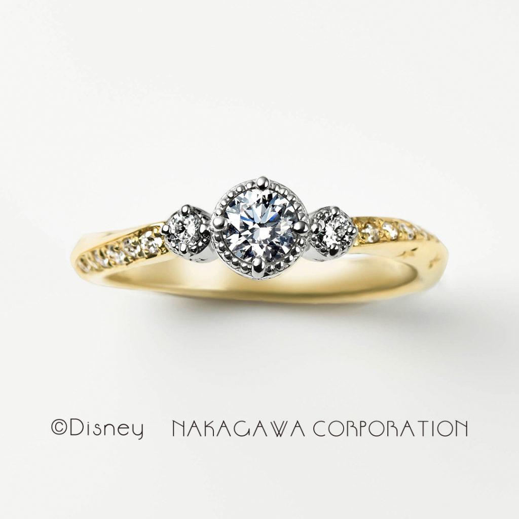 twinkle 婚約指輪 エレガント キュート 個性派 S字(ウェーブ) イエローゴールド