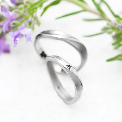 DUNE 結婚指輪 シンプル 個性派 S字(ウェーブ) プラチナ
