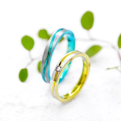 PULSE 結婚指輪 シンプル 個性派 ストレート ジルコニウム