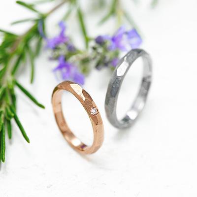 ULU 結婚指輪 シンプル 個性派 ストレート イエローゴールド ホワイトゴールド