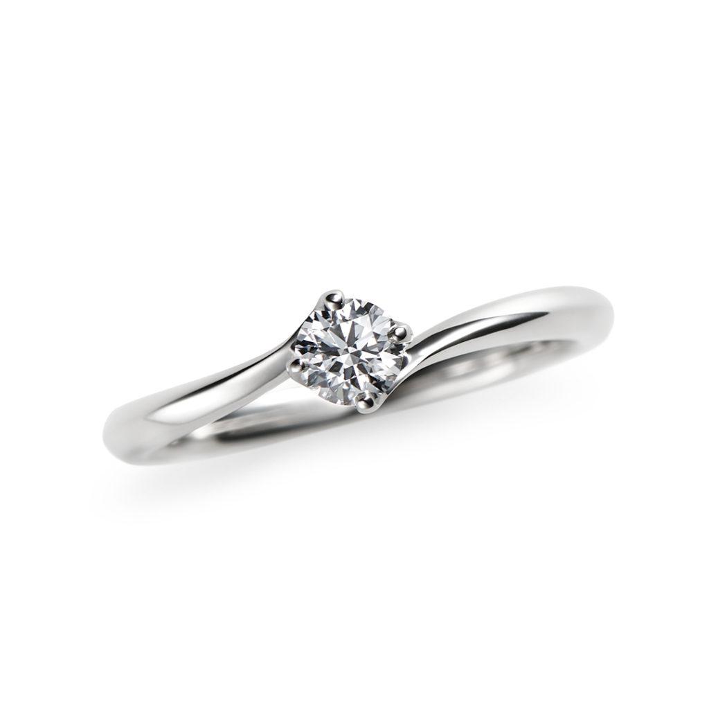 若葉 婚約指輪 シンプル S字(ウェーブ) プラチナ