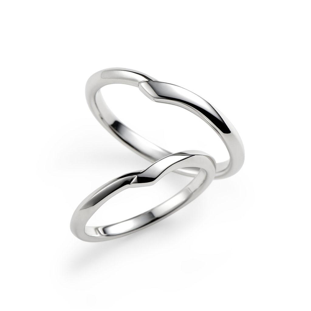 若葉 結婚指輪 シンプル V字(ウェーブ) プラチナ